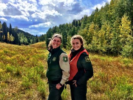 1.	District Ranger Sarah Hankens with Public Affairs Specialist Kate Jerman in White River National Forest, September 14, 2016. Forest Service Photo