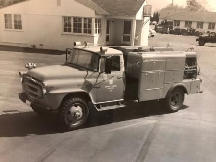 Historic B&W photo of Brutus the fire engine