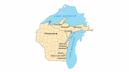 A graphic showing the watershed of Lake Michigan and Lake Superior