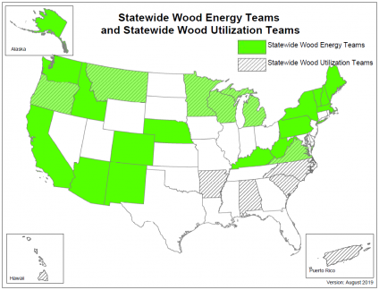 A map showing statewide wood energy teams and statewide wood utilization teams.