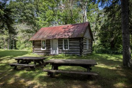 A picture of the Little Cut Foot Ranger station, the first ranger station built east of the Mississippi River, still stands on the Chippewa National Forest.