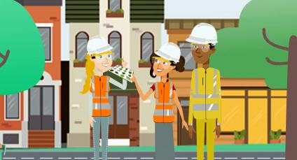 Illustration of three people with hard hats and reflective vests stand on an urban sidewalk between two trees and surrounded by residential buildings.