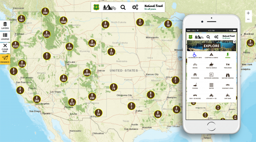 A screen capture showing the Forest Service's interactive visitor map view for a desktop and a mobile view.