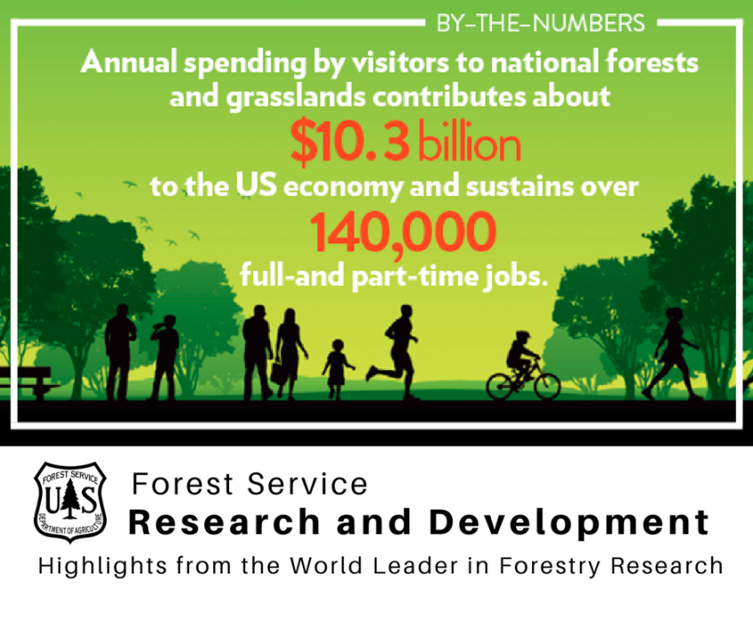 Annual spending by visitors to national forests and grasslands contributes about 10.3 billion to the U.S. economy and sustains over 140,000 full and part-time jobs.