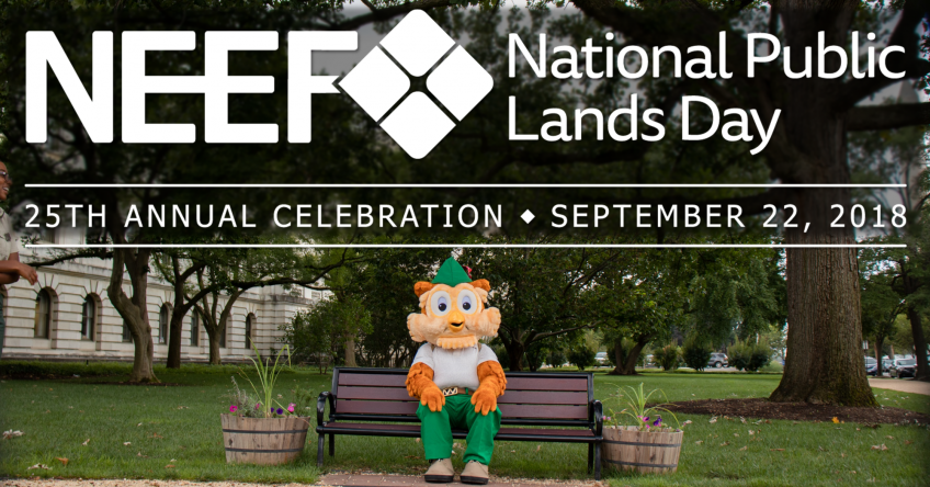 A picture of Woodsy Owl sitting on a park bench and with text that says NEEF National Public Lands Day, 25th Annual Celebration, September 22, 2018.