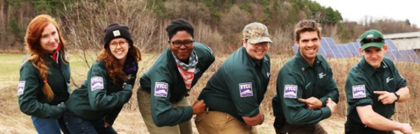 A photo of YCC SCA crewmembers in Chequamegon-Nicolet National Forest, Wisconsin