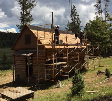 Log cabin being renovated