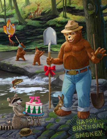 A graphic of Smokey Bear and a birthday cake to celebrate his 75 birthday this August 9th.