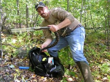 A picture of Dan Tollini handling a snake for research purposes.