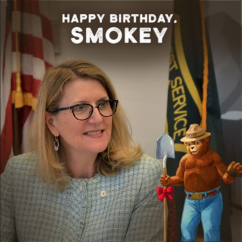 Chief Vicki Christiansen celebrates Smokey Bear's 75th Birthday. So can you!