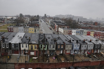 A photo of Baltimore's Oliver Neighborhood is a mix of occupied and abandoned rowhouses. The U.S. Forest Service is working with partners to host the Carbon Challenge green building design contest.