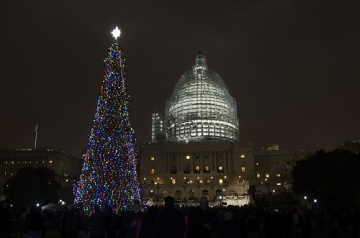 The 2015 Capitol Christmas Tree lit up on the West Front lawn of the Capitol.