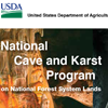Publication cover that reads National Cave and Karst Program on National Forest System Lands