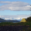 A photo of a yellow tent and in the background is Admiralty island