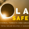 A graphic that reads solar safety on national forests and grasslands