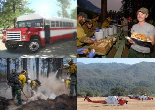 Photo collage of crew bus, camp catering, fire crew and helicopters