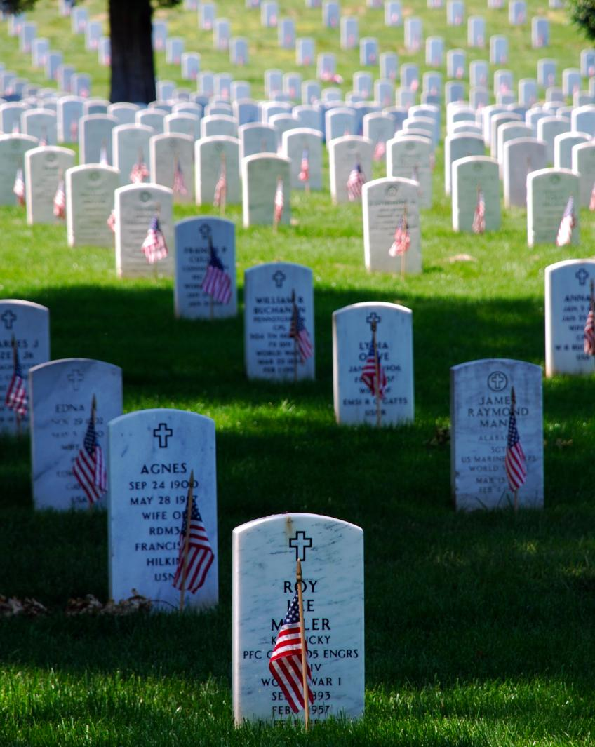 The gravestones at Arlington National Cemetery are graced by U.S. flags on Memorial Day.