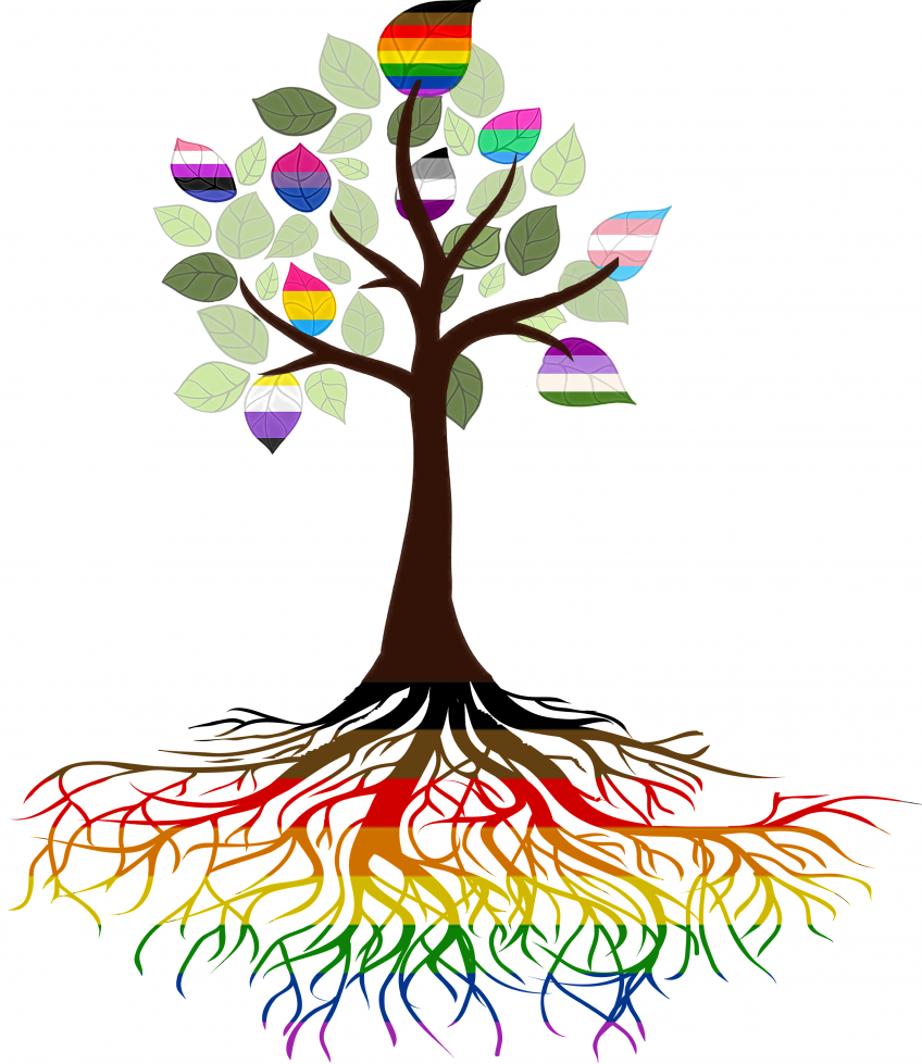 Graphic: Tree with rainbow roots and a few rainbow leaves