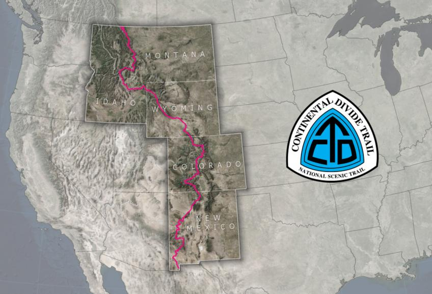 A map of the Continental Divide Trail's route through New Mexico, Colorado, Wyoming, Idaho, and Montana.