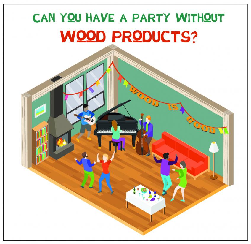 "A graphic of the inside of house with the words, ""Can you have a party without wood products?"" on it."