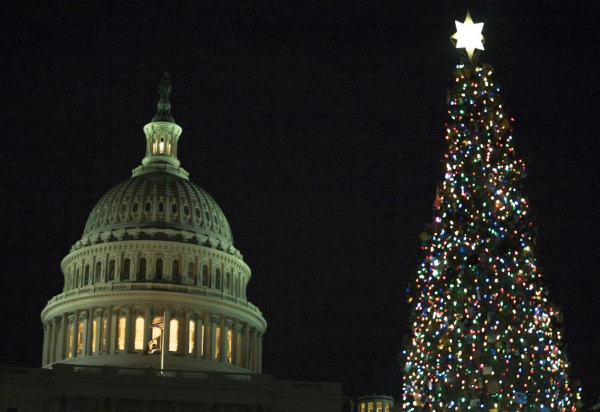 Lit Chirstmas Tree in front of the US Capitol