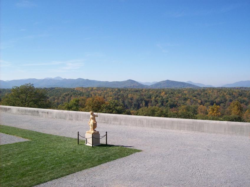 A picture from a terrace of the Biltmore Estate looking out over a forest that is starting to change to it's fall colors.
