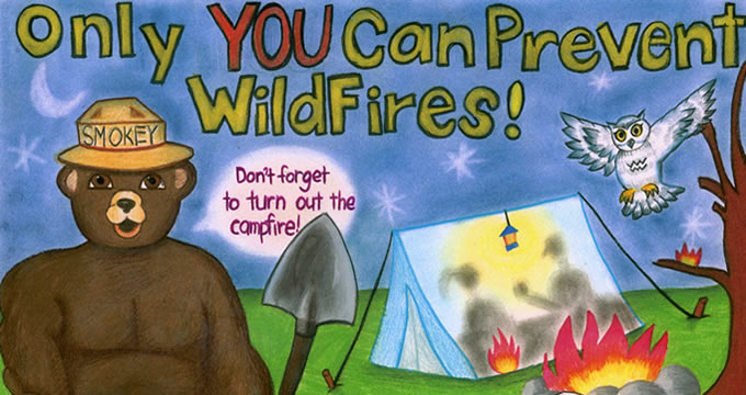 A photo of an original drawing in the Smokey Bear/Woodsy Owl Poster Contest