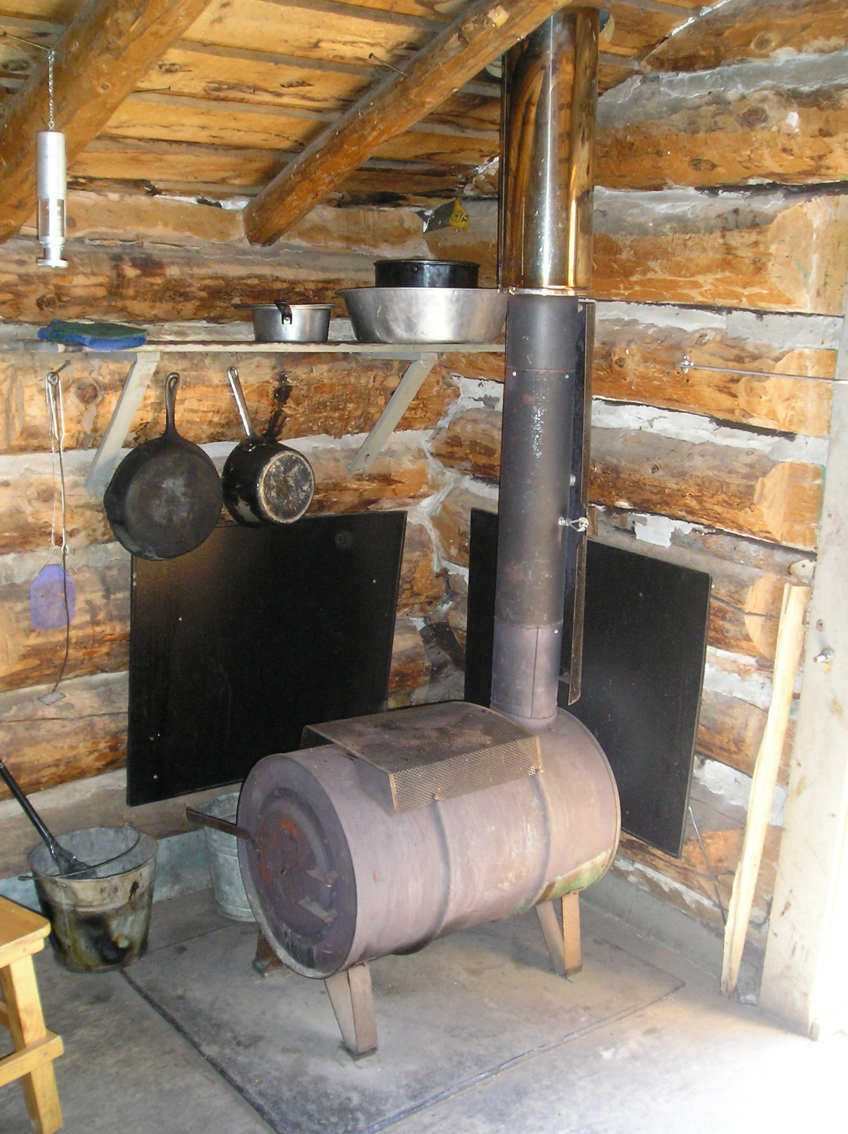 shield little roof barn pin stove tin heat metal our cabins woodstove cabin